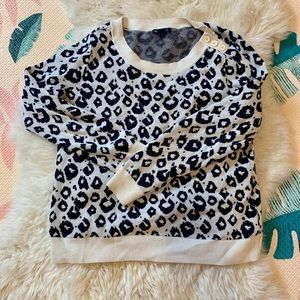 Navy and cream leopard print sweater
